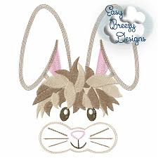 Bunny Face Embroidery Design Whisker Face Sketch Embroidery Design Bunny Face Easter Bunny Embroidery Machine Embroidery Files