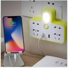 Ổ cắm điện 3in1 2 cổng USB kiêm đèn ngủ cực tiện lợi Tích hợp 4 ổ cắm điện  và 2 cổng usb để sạc pin điện thoại máy nghe nhạc loa đài 1 đèn... sạc điện  thoại kèm ổ cắm đèn ngủ
