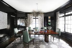 Interior decorator atlanta family room Sofa Black Lacquer Walls Becomenbspa Compelling Backdrop For Play On Pattern And Form In Décor Aid Glamour In The Suburbs Home Tour Lonny