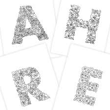 One letter and an animal that starts with that letter. 26 Alphabet Coloring Pages Illustrated With Flowers Digital Download Boelter Design Co