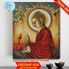 Shop bán Tranh sơn dầu số hóa tự tô màu theo số có khung HOA SEN BÊN ĐỨC  PHẬT P2 SVTG010 ( Tranh tô màu Đức Phật và hoa sen góc sắc
