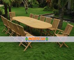 best er outdoor furniture teak oval table 3 metres long with 12 pieces of folding chairs