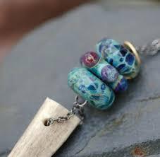 custom made handmade glass beads deer antler lariat necklace boro lampwork blue