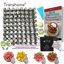 Russian Piping Tips Chart Transhome Russian Piping Tips 57 Pcs Set Large Confectionery