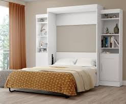 full wall bed with 2 storage units in dark chocolate
