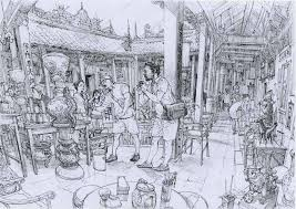 sketch of the peranakan mansion in penang msia
