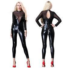 females hot y leather latex mesh patchwork full stocking catsuit costumes for crotchless transpa suit