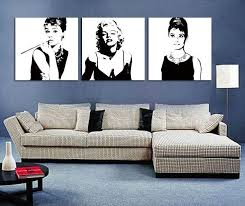 black and white wall art canvas ing guide woman in of set white lamp grey sofa
