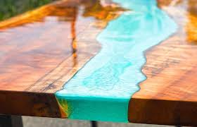 resin river table with wood step