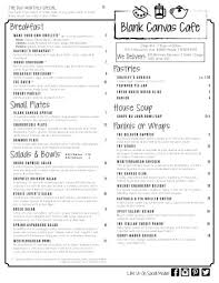 Dream Catchers Colorado Springs Menu Side One for Blank Canvas Cafe at Dream Catchers Picture of 4
