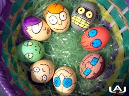 i usually dye my easter eggs a solid color i never get as fancy as making futurama easter eggs