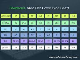 Childrens Shoe Sizes Conversion Chart Shoe Size Conversion Chart Starlink Shoe Making Machine