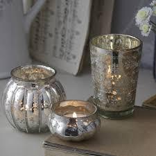 antique silver glass tea light holders set of 3