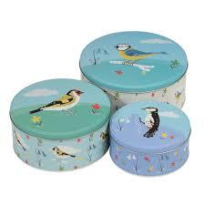 Designer Cake Tins Amazon Com Set Of 3 Garden Birds Design Storage Cake Tins