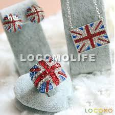 UK Flag Union Jack Crystal Stud Earrings Necklace Pendant Ring ...