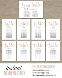 Seating Chart Cards Wedding Template Rose Gold Wedding Decorations Diy Wedding Seating Plan Instant Download