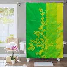 polyester shower curtain green leaves