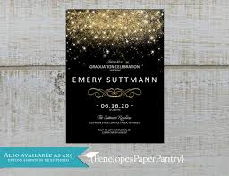 Elegant Graduation Announcements Elegant Graduation Party Invitation Announcement Black And Gold Gold Glitter Print Class Of 2020 Shimmery Personalize Printed Card Envelope