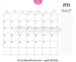 August Theme Calendar Vector Of Calendar 2018 August In Simple Clean Table Style With Note Line In Earth Tone Color Theme Full Size 21 X 16 Cm Week Start On Sunday