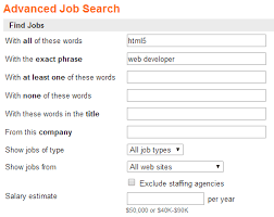 Advanced job search screen shot