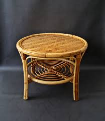 mid century round bamboo coffee table