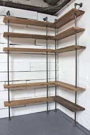 Oak Corner Shelves Wall Mount Interesting Bespoke Dark Oak Stained Reclaimed Scaffolding Boards And Steel Pipe