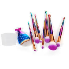 8pcs mermaid shaped makeup brush set big fish l foundation powder eyeshadow make up brushes