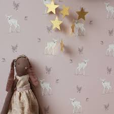 home children s decor girls wallpaper woodland fawn nursery wallpaper by mimi and mae