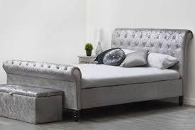 black upholstered sleigh bed. St James Silver Crushed Velvet Fabric Upholstered Sleigh Diamante Chesterfield Bed Frame Black