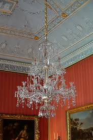 file red drawing room chandelier england 1790s cut glass lead crystal