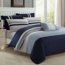 new season s home 7 piece ashford duvet cover set in navy and taupe