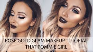 rose gold glam makeup tutorial using kylie lip kit in true brown that pommie lets learn makeup