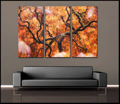 piece floral orange project awesome three piece wall art  home