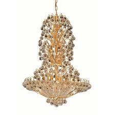 elegant lighting sirius gold fourteen light 28 inch chandelier with royal cut clear crystal