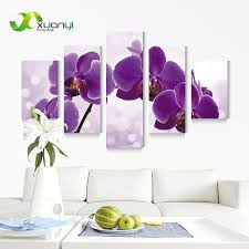 5 panel new modern purple flower painting picture cuadros decoracion canvas art wall decor for living