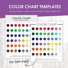 Cmyk Color Chart Adorable Color Chart Color Chart Template Color Palette Instant Etsy