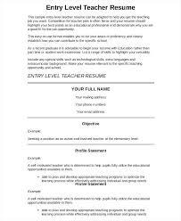 teaching resume samples entry level entry level preschool teacher resume  resume sample objectives