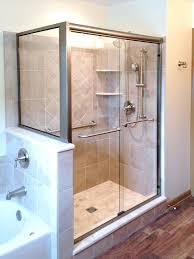 semi frameless shower door semi slider with return panel brushed nickel finish clear glass semi frameless