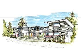 modern architecture sketch. River Street Multifamily Apartment Sketch - Soquel, CA Modern Architecture
