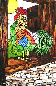stained glass roosters rooster in the haymow heirlooms vintage lamp