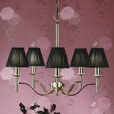 stanford nickel 5 light chandelier black shades new classics interiors 1900