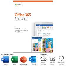 Microsoft Office 365 Personal 12 Month Subscription 1 Person Pc Mac Key Card Walmart Com