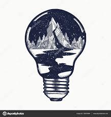 Hory V žárovce Tetování Symbol Cestování Cestovní Ruch Stock