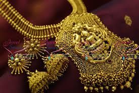 nl4316 antique temple jewellery big pendant real gold design nagasu jewellery set