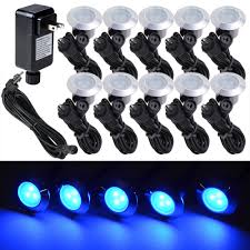 outdoor stairs lighting. 10pc Blue LED Deck Lights Kit Garden Patio Stair Landscape Outdoor Pathway Decor Stairs Lighting