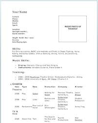 Example Of Actor Resume Beginner Acting Resume Theater Resume