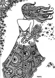 Small Picture Free coloring page for adults Girl with tattoo Gratis kleurplaat
