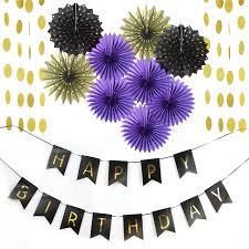 Purple Happy Birthday Banner 11pc Purple Gold Black Party Decoration Set Happy Birthday Banner