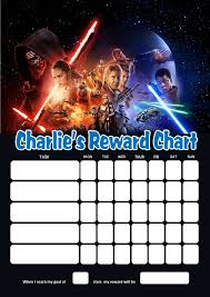 Star Wars Behavior Chart Personalised Star Wars Reward Chart Adding Photo Option Available