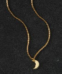 all gone 14k gold plated crescent moon pendant necklace